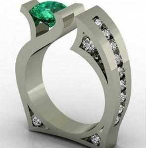 Unique 925 silver green ring size 8